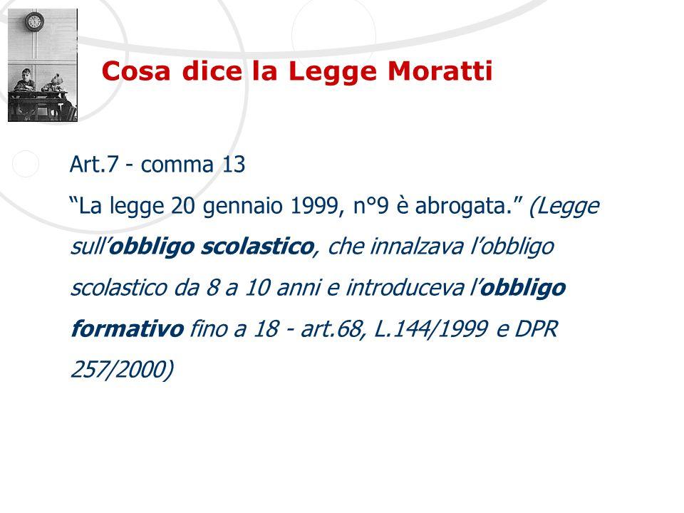 Cosa dice la Legge Moratti Art.7 - comma 13 La legge 20 gennaio 1999, n°9 è abrogata. (Legge sullobbligo scolastico, che innalzava lobbligo scolastico