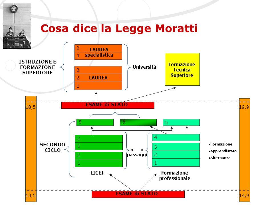 Cosa dice la Legge Moratti 1 4 1 2 2 3 13,514,9 ESAME di STATO SECONDO CICLO LICEIFormazione professionale 1 2 Formazione Apprendistato Alternanza 5 5