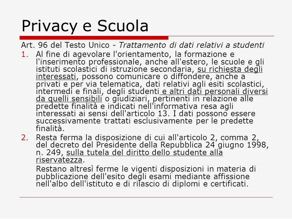 Privacy e Scuola Art.