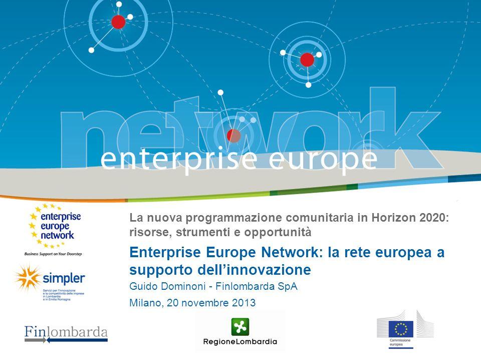 La nuova programmazione comunitaria in Horizon 2020: risorse, strumenti e opportunità Enterprise Europe Network: la rete europea a supporto dellinnovazione Guido Dominoni - Finlombarda SpA Milano, 20 novembre 2013