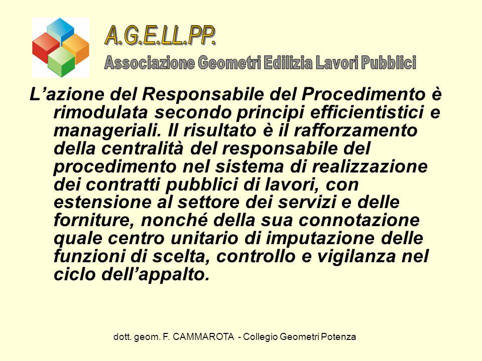dott. geom. F. CAMMAROTA - Collegio Geometri Potenza Lazione del Responsabile del Procedimento è rimodulata secondo principi efficientistici e manager