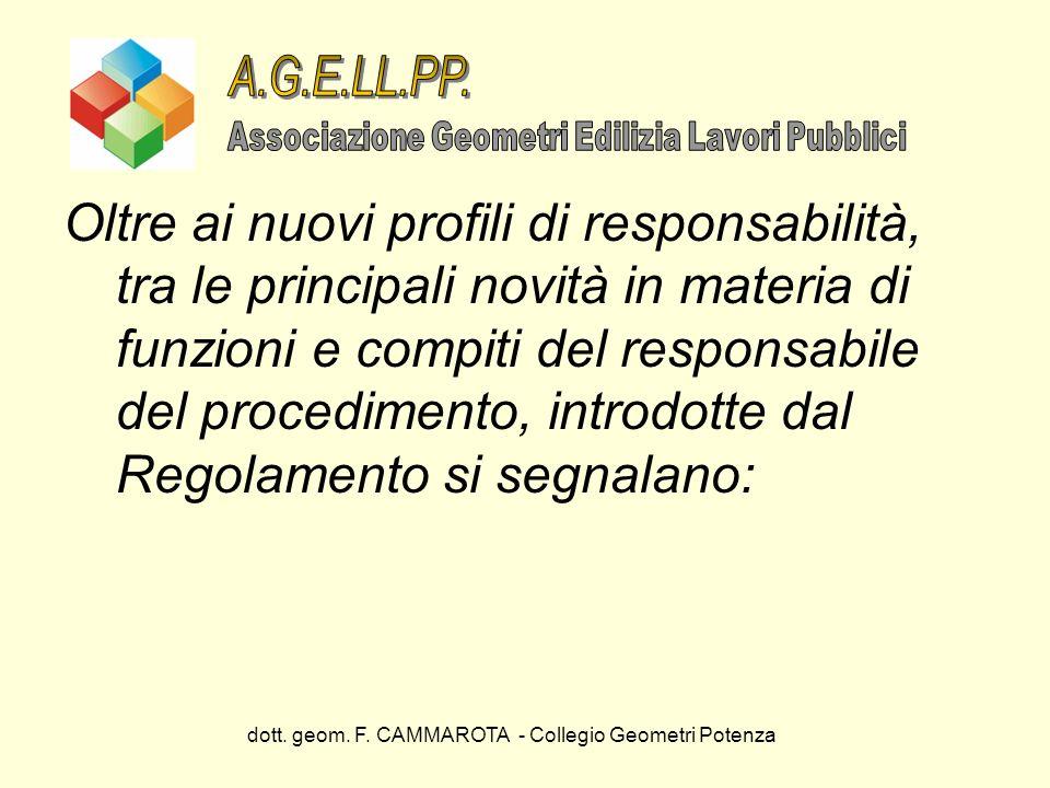 dott. geom. F. CAMMAROTA - Collegio Geometri Potenza Oltre ai nuovi profili di responsabilità, tra le principali novità in materia di funzioni e compi