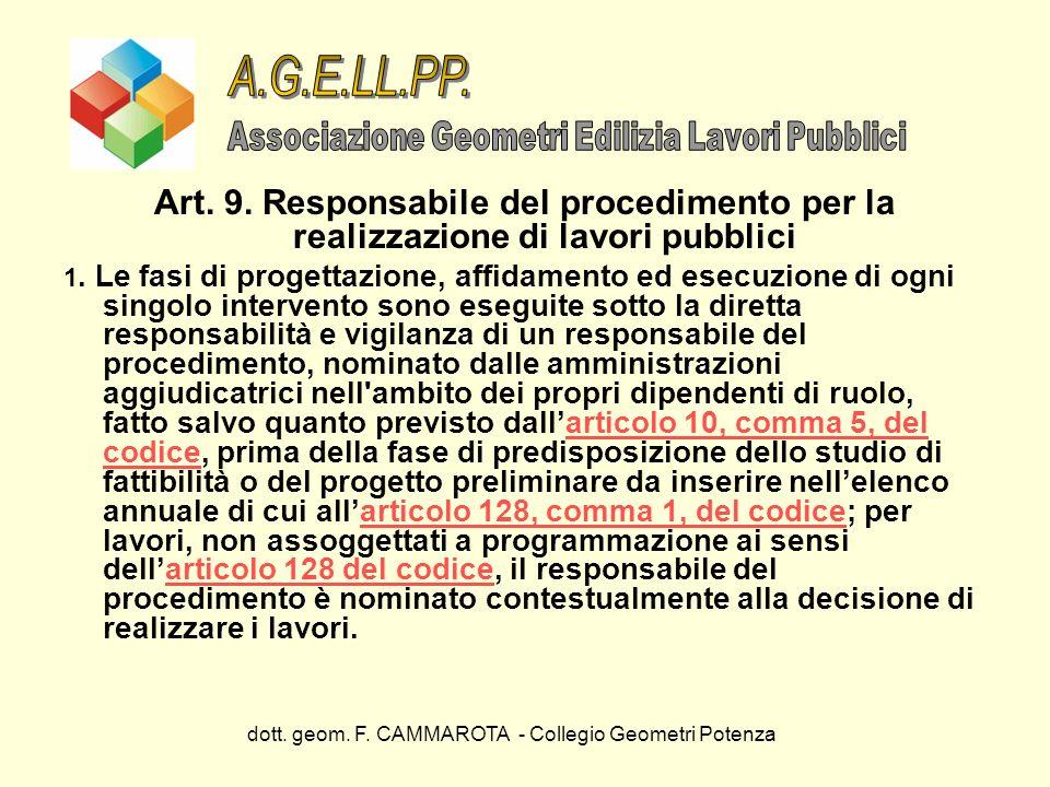 dott. geom. F. CAMMAROTA - Collegio Geometri Potenza Art. 9. Responsabile del procedimento per la realizzazione di lavori pubblici 1. Le fasi di proge