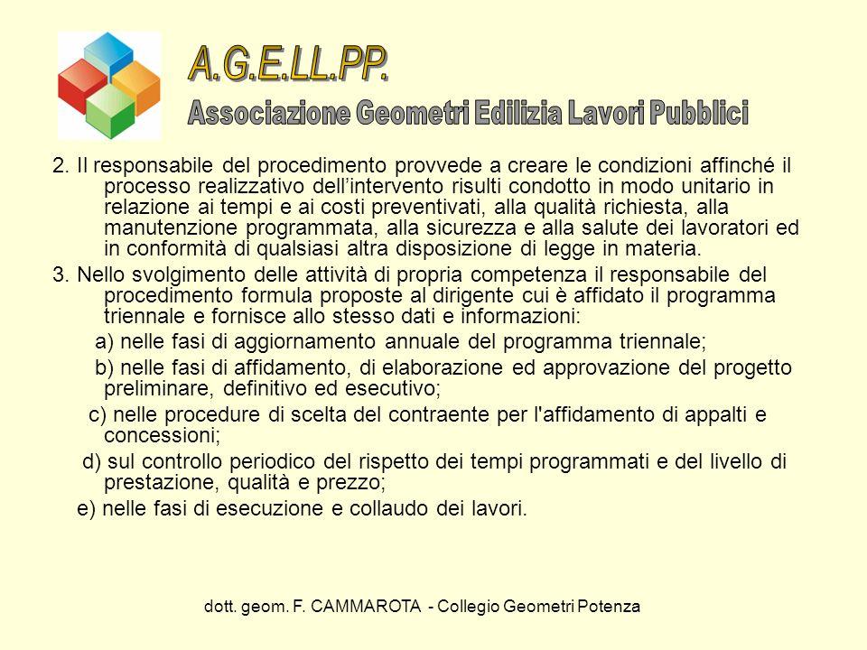 dott. geom. F. CAMMAROTA - Collegio Geometri Potenza 2. Il responsabile del procedimento provvede a creare le condizioni affinché il processo realizza