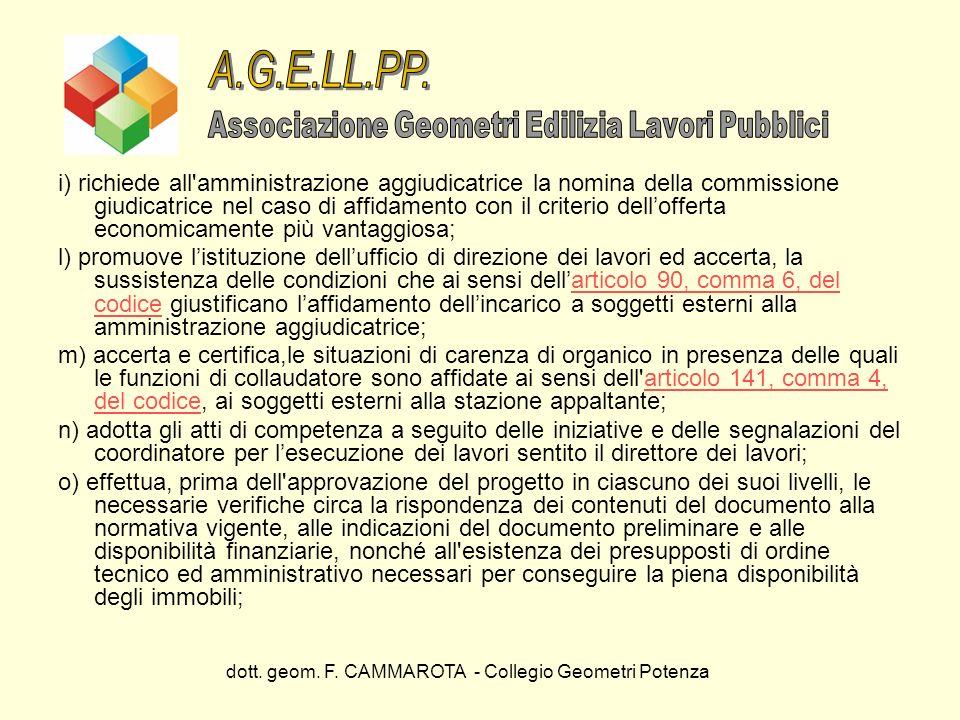 dott. geom. F. CAMMAROTA - Collegio Geometri Potenza i) richiede all'amministrazione aggiudicatrice la nomina della commissione giudicatrice nel caso