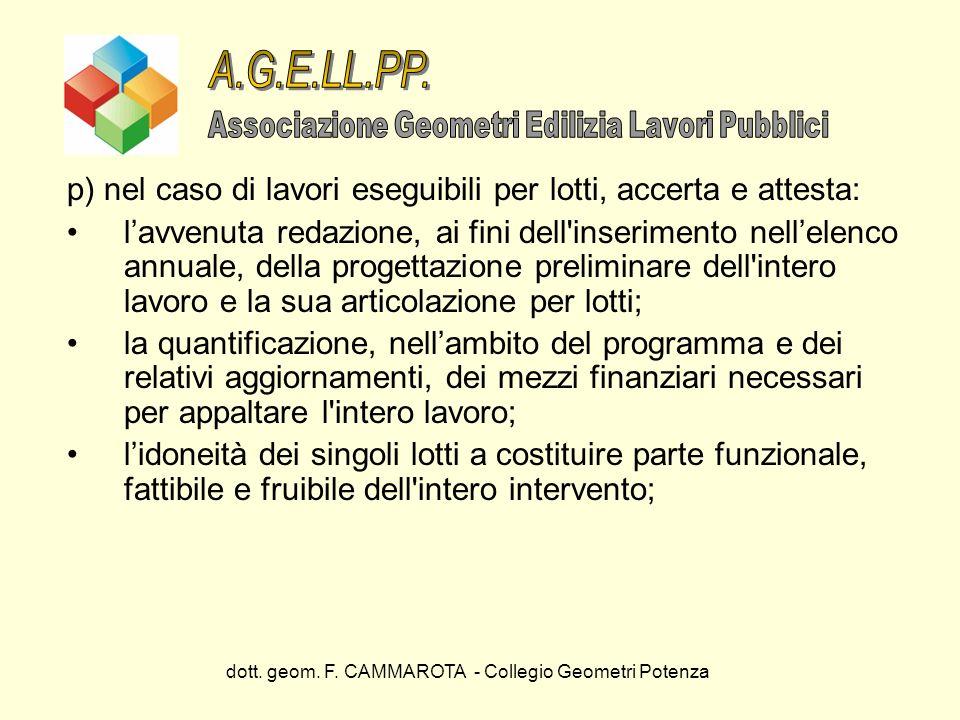 dott. geom. F. CAMMAROTA - Collegio Geometri Potenza p) nel caso di lavori eseguibili per lotti, accerta e attesta: lavvenuta redazione, ai fini dell'
