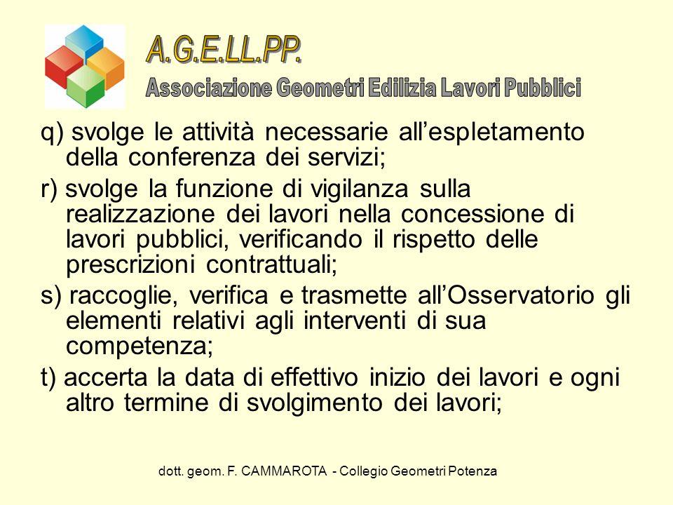dott. geom. F. CAMMAROTA - Collegio Geometri Potenza q) svolge le attività necessarie allespletamento della conferenza dei servizi; r) svolge la funzi
