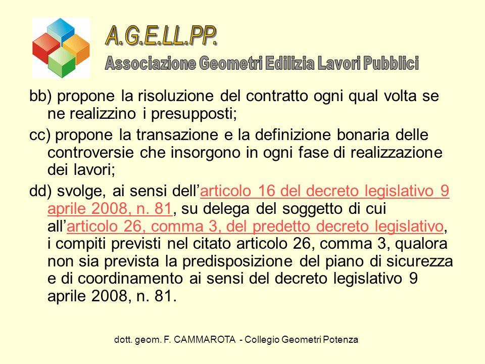 dott. geom. F. CAMMAROTA - Collegio Geometri Potenza bb) propone la risoluzione del contratto ogni qual volta se ne realizzino i presupposti; cc) prop