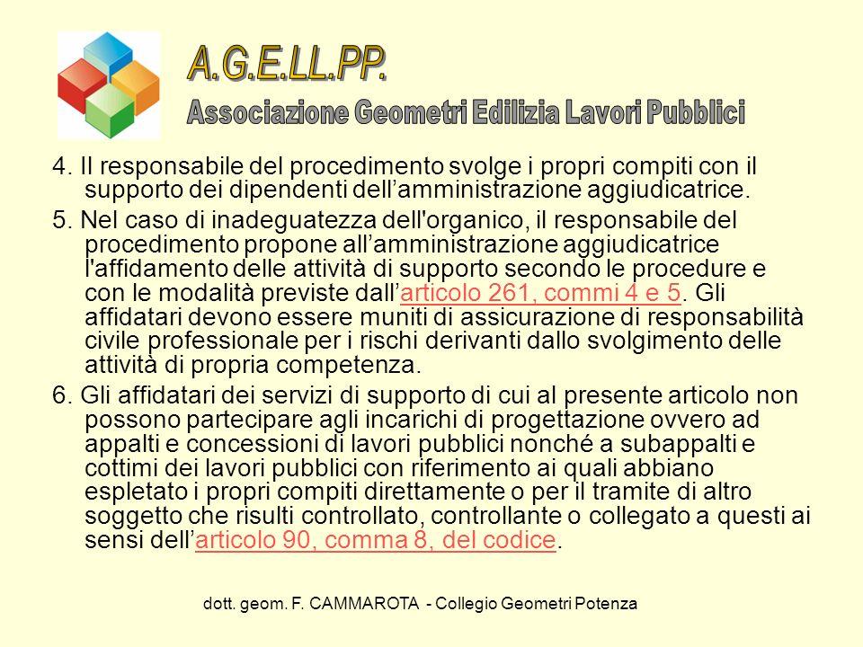 dott. geom. F. CAMMAROTA - Collegio Geometri Potenza 4. Il responsabile del procedimento svolge i propri compiti con il supporto dei dipendenti dellam