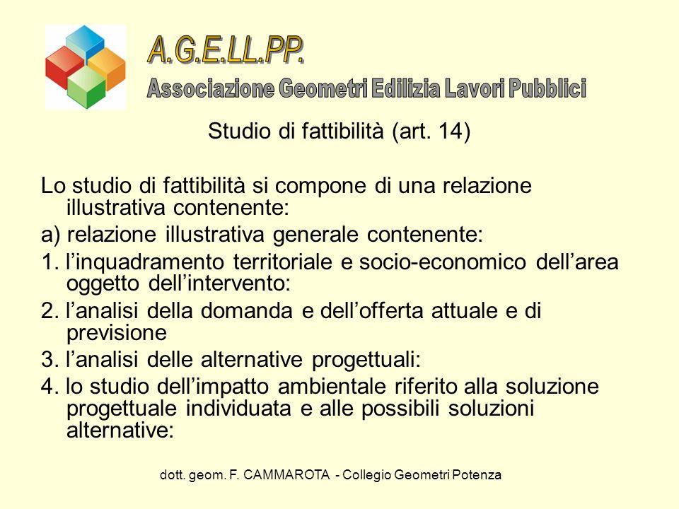 dott. geom. F. CAMMAROTA - Collegio Geometri Potenza Studio di fattibilità (art. 14) Lo studio di fattibilità si compone di una relazione illustrativa