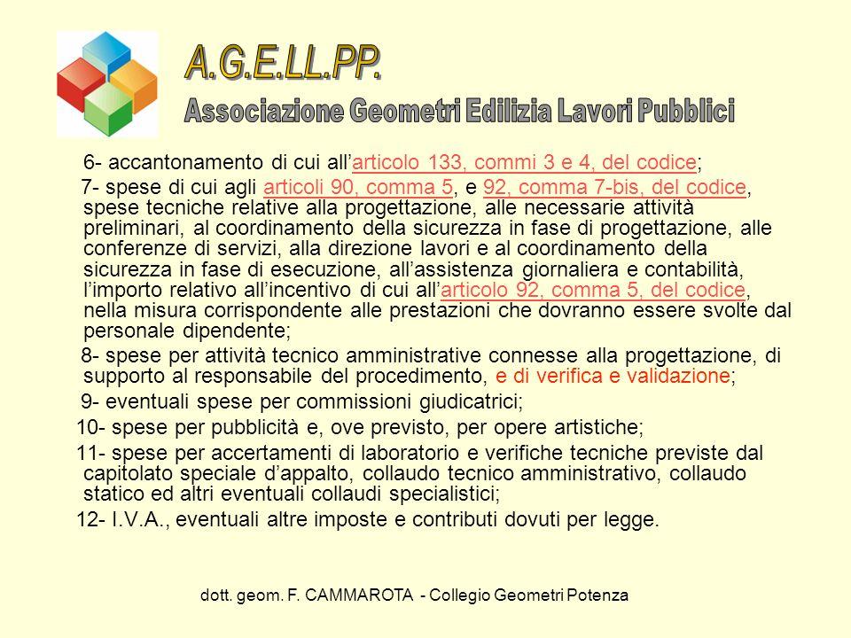dott. geom. F. CAMMAROTA - Collegio Geometri Potenza 6- accantonamento di cui allarticolo 133, commi 3 e 4, del codice;articolo 133, commi 3 e 4, del