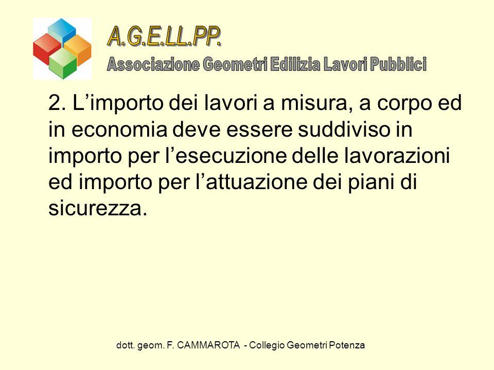 dott. geom. F. CAMMAROTA - Collegio Geometri Potenza 2. Limporto dei lavori a misura, a corpo ed in economia deve essere suddiviso in importo per lese