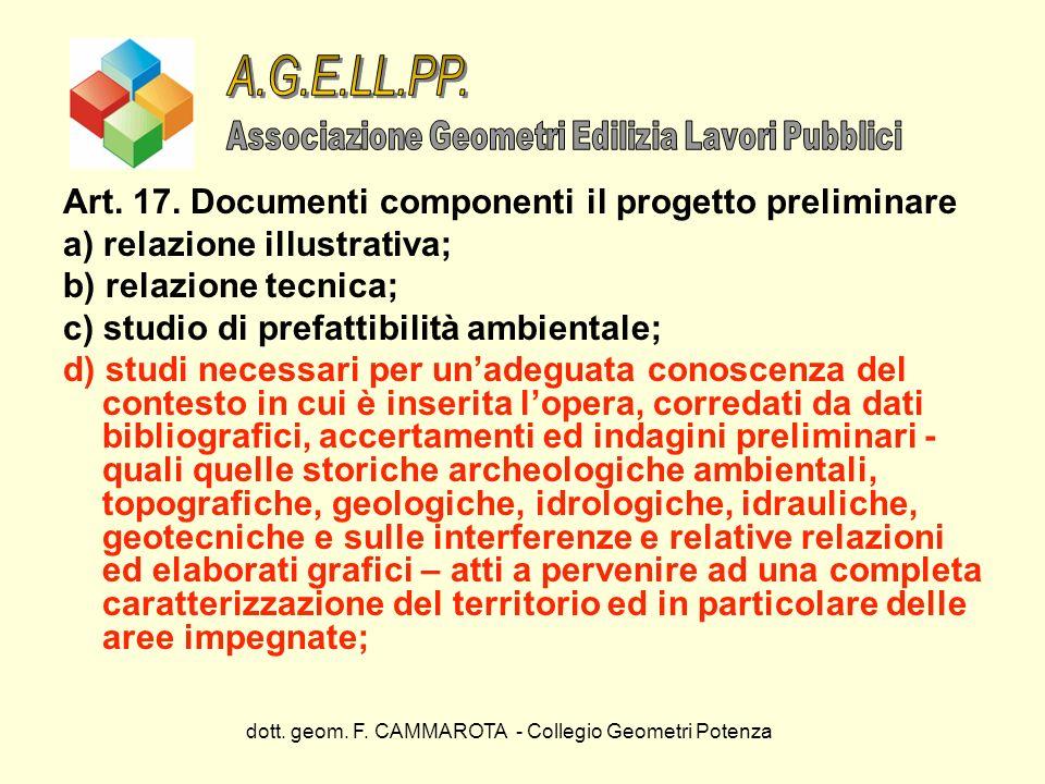 dott. geom. F. CAMMAROTA - Collegio Geometri Potenza Art. 17. Documenti componenti il progetto preliminare a) relazione illustrativa; b) relazione tec