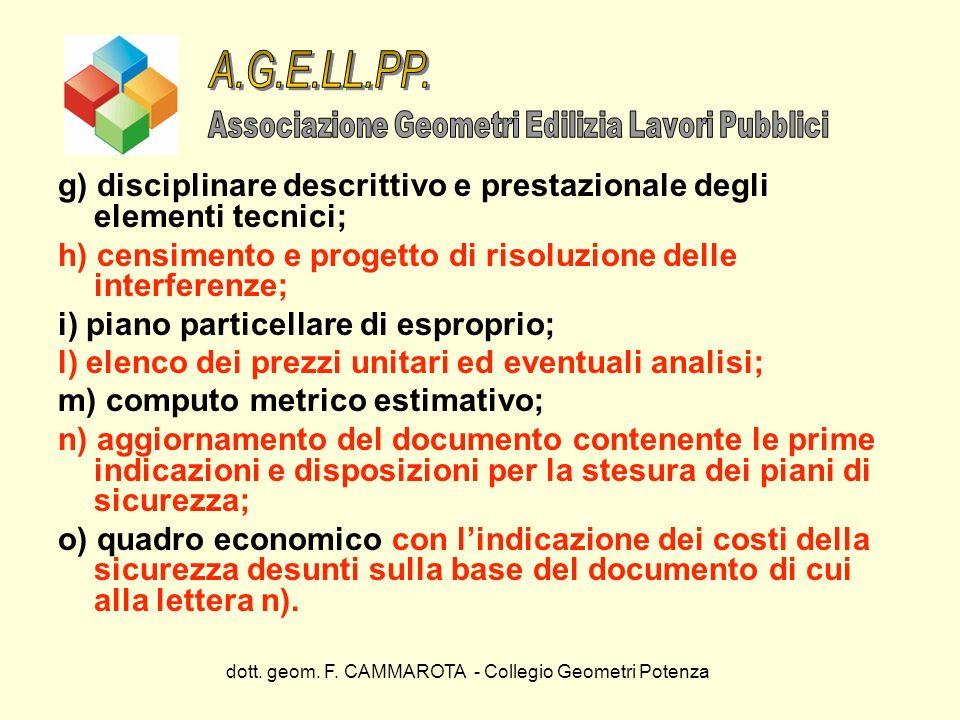 dott. geom. F. CAMMAROTA - Collegio Geometri Potenza g) disciplinare descrittivo e prestazionale degli elementi tecnici; h) censimento e progetto di r