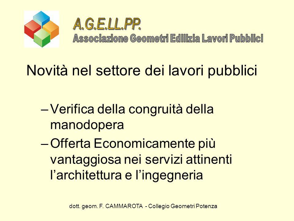 dott. geom. F. CAMMAROTA - Collegio Geometri Potenza Novità nel settore dei lavori pubblici –Verifica della congruità della manodopera –Offerta Econom
