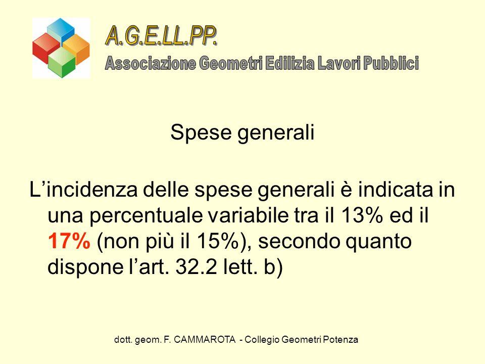 dott. geom. F. CAMMAROTA - Collegio Geometri Potenza Spese generali Lincidenza delle spese generali è indicata in una percentuale variabile tra il 13%