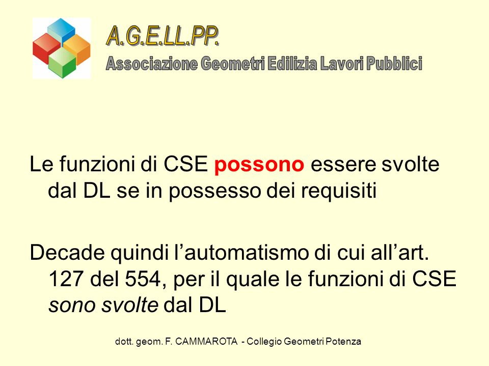 dott. geom. F. CAMMAROTA - Collegio Geometri Potenza Le funzioni di CSE possono essere svolte dal DL se in possesso dei requisiti Decade quindi lautom