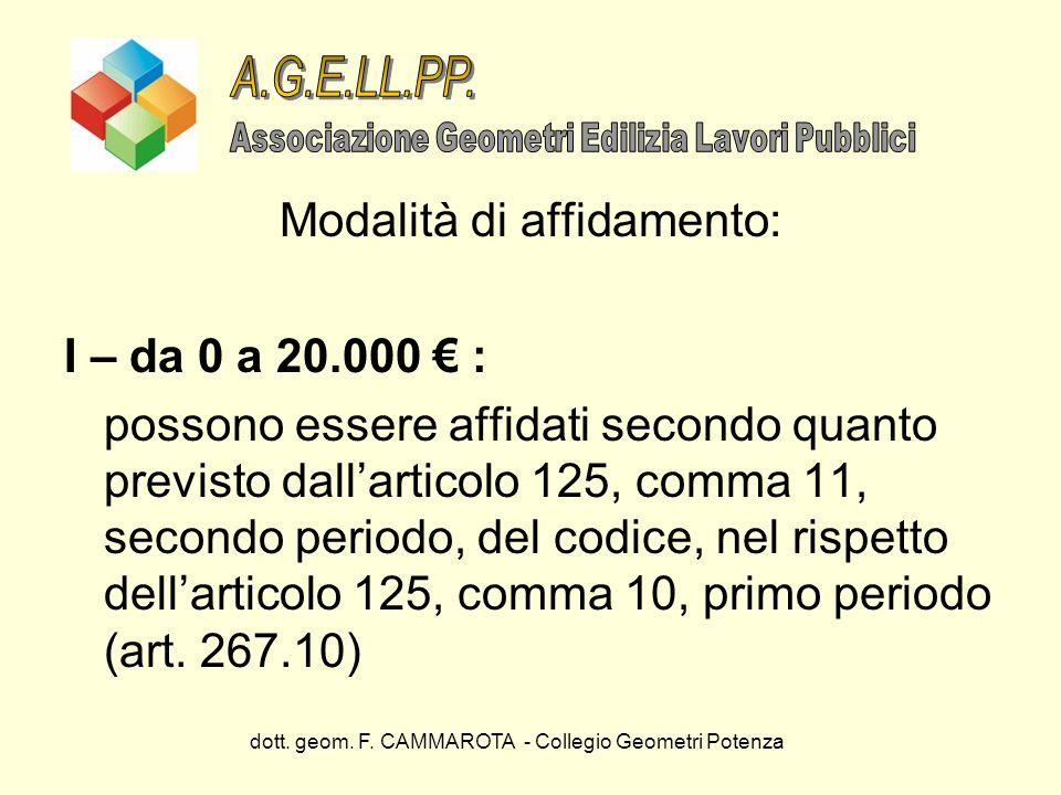 dott. geom. F. CAMMAROTA - Collegio Geometri Potenza Modalità di affidamento: I – da 0 a 20.000 : possono essere affidati secondo quanto previsto dall