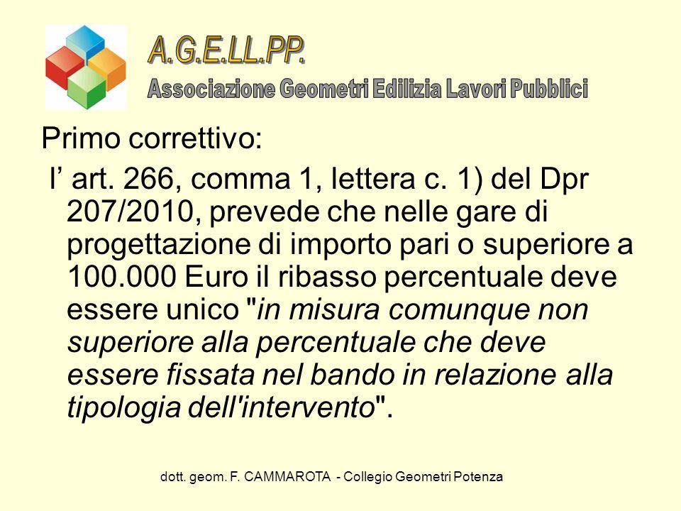 dott. geom. F. CAMMAROTA - Collegio Geometri Potenza Primo correttivo: l art. 266, comma 1, lettera c. 1) del Dpr 207/2010, prevede che nelle gare di