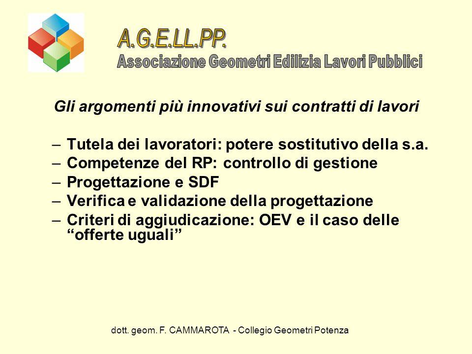 dott. geom. F. CAMMAROTA - Collegio Geometri Potenza Gli argomenti più innovativi sui contratti di lavori –Tutela dei lavoratori: potere sostitutivo d