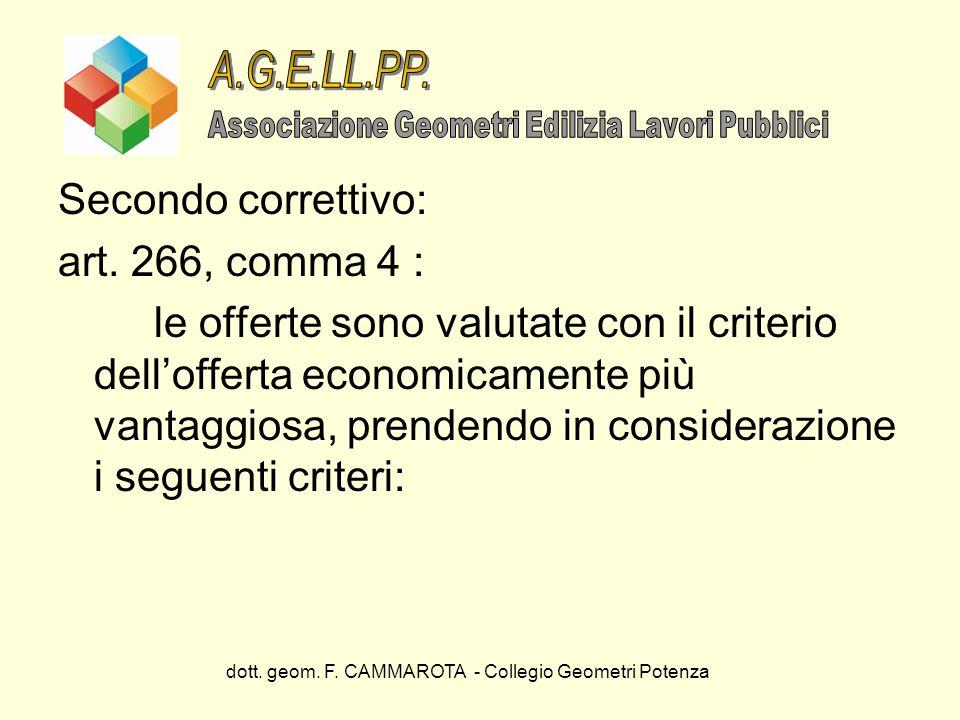 dott. geom. F. CAMMAROTA - Collegio Geometri Potenza Secondo correttivo: art. 266, comma 4 : le offerte sono valutate con il criterio dellofferta econ