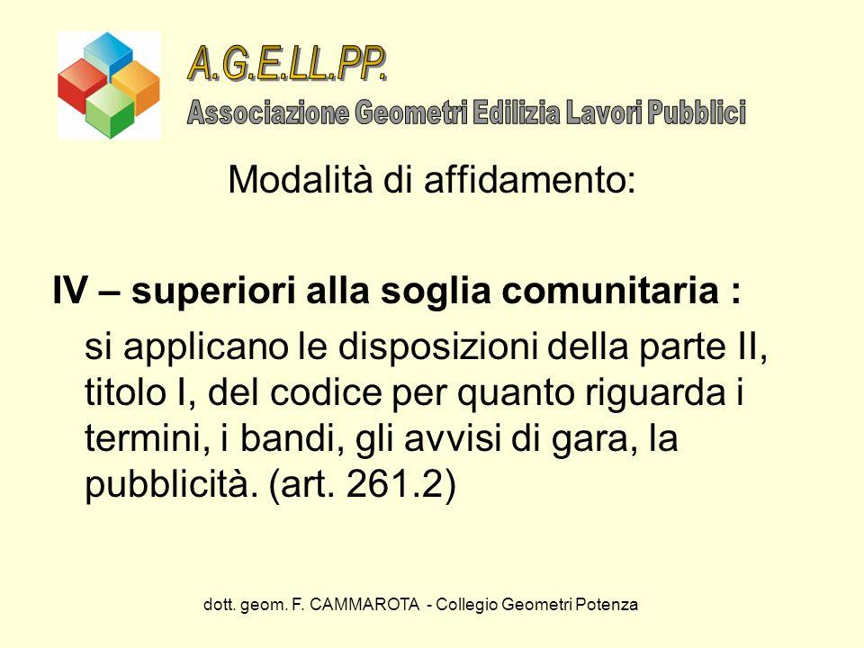 dott. geom. F. CAMMAROTA - Collegio Geometri Potenza Modalità di affidamento: IV – superiori alla soglia comunitaria : si applicano le disposizioni de