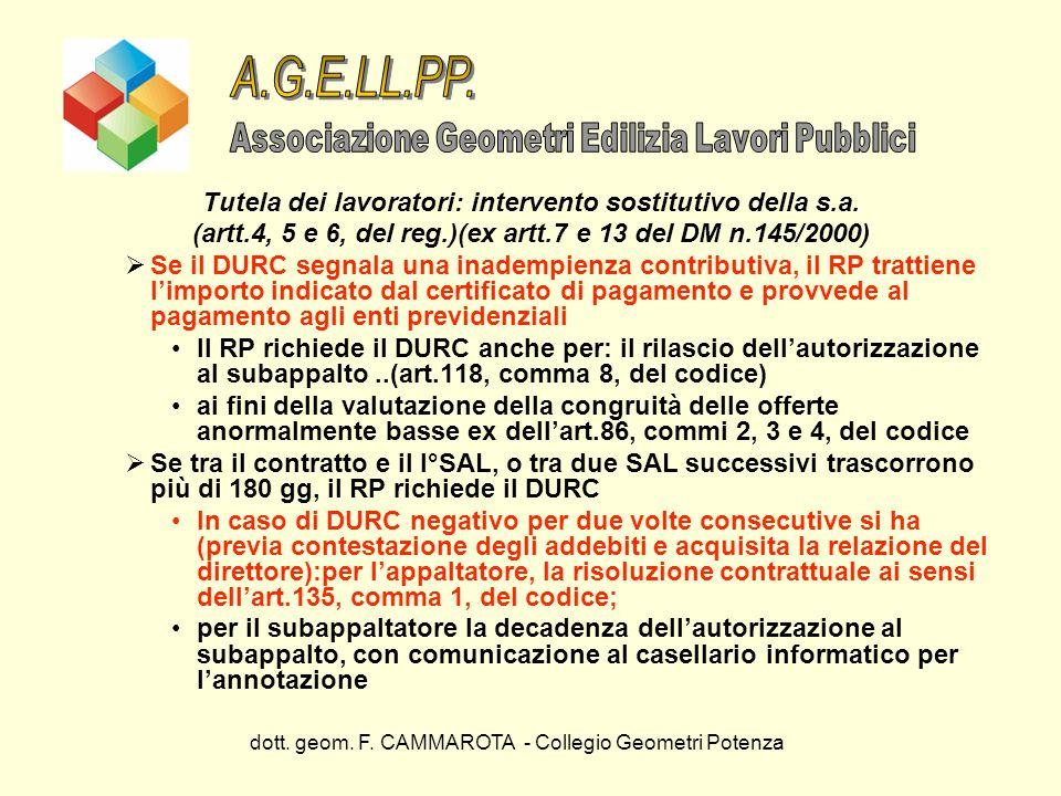 dott. geom. F. CAMMAROTA - Collegio Geometri Potenza Tutela dei lavoratori: intervento sostitutivo della s.a. (artt.4, 5 e 6, del reg.)(ex artt.7 e 13
