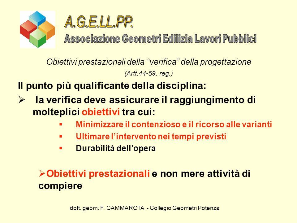 dott. geom. F. CAMMAROTA - Collegio Geometri Potenza Obiettivi prestazionali della verifica della progettazione (Artt.44-59, reg.) Il punto più qualif
