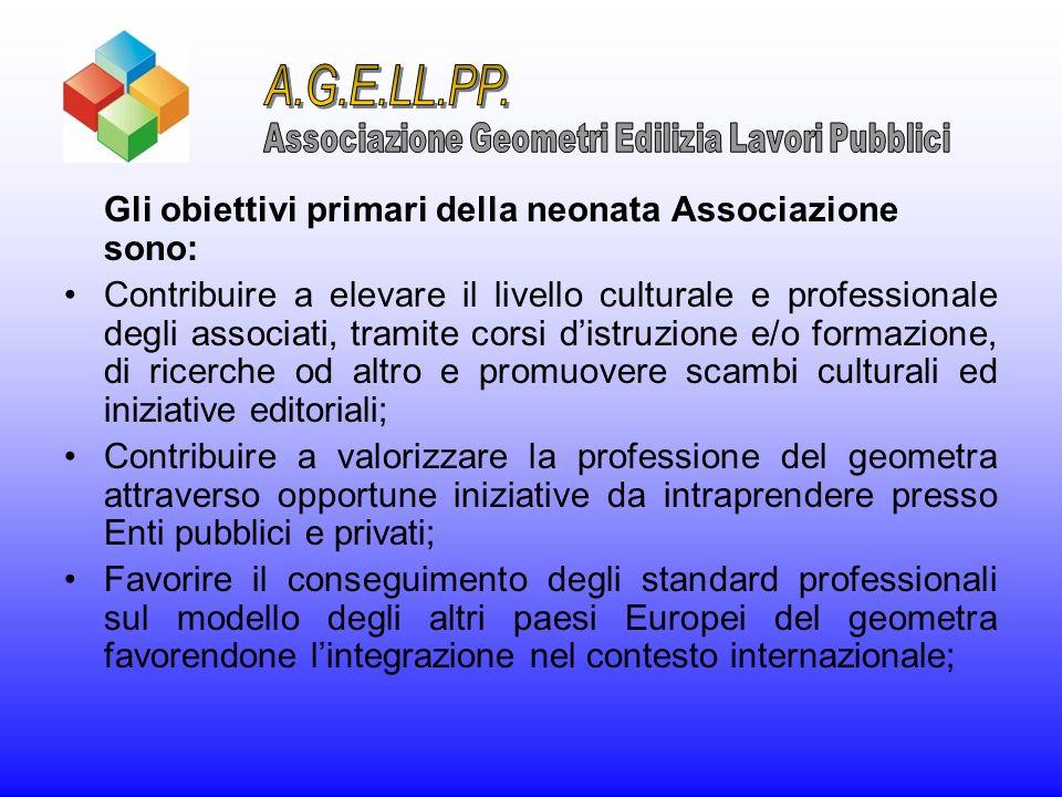 Gli obiettivi primari della neonata Associazione sono: Contribuire a elevare il livello culturale e professionale degli associati, tramite corsi distr