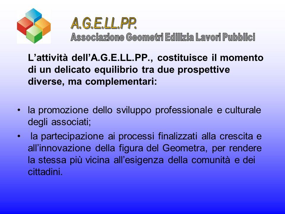 Lattività dellA.G.E.LL.PP., costituisce il momento di un delicato equilibrio tra due prospettive diverse, ma complementari: la promozione dello svilup
