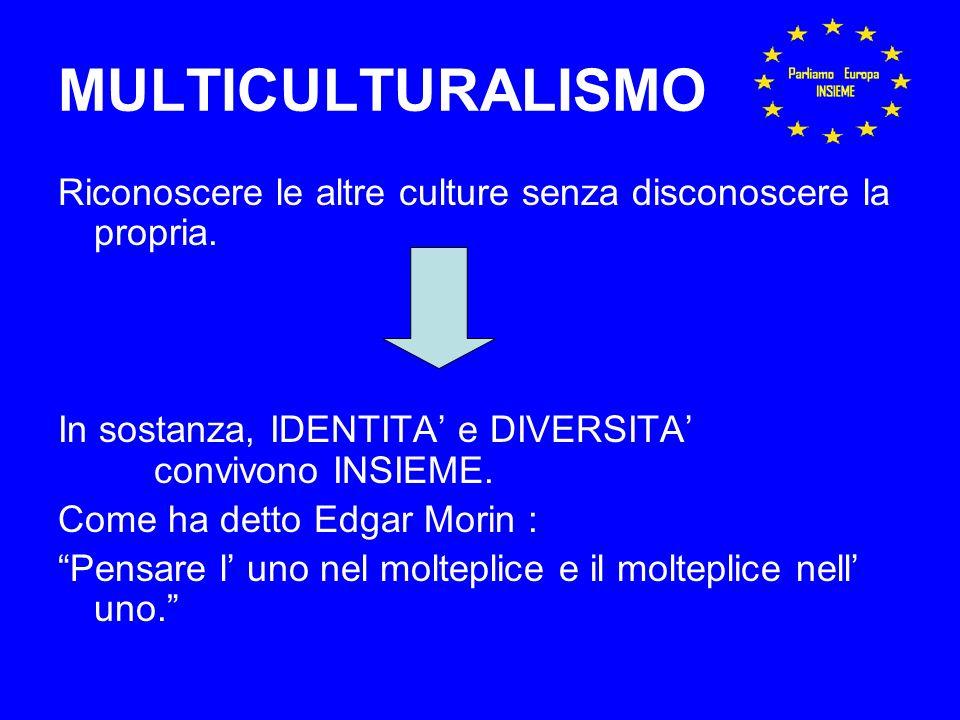 MULTICULTURALISMO Riconoscere le altre culture senza disconoscere la propria.