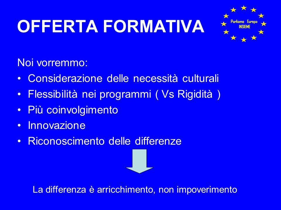 OFFERTA FORMATIVA Noi vorremmo: Considerazione delle necessità culturali Flessibilità nei programmi ( Vs Rigidità ) Più coinvolgimento Innovazione Riconoscimento delle differenze La differenza è arricchimento, non impoverimento