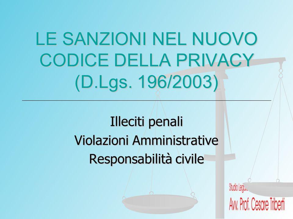 LE SANZIONI NEL NUOVO CODICE DELLA PRIVACY (D.Lgs. 196/2003) Illeciti penali Violazioni Amministrative Responsabilità civile