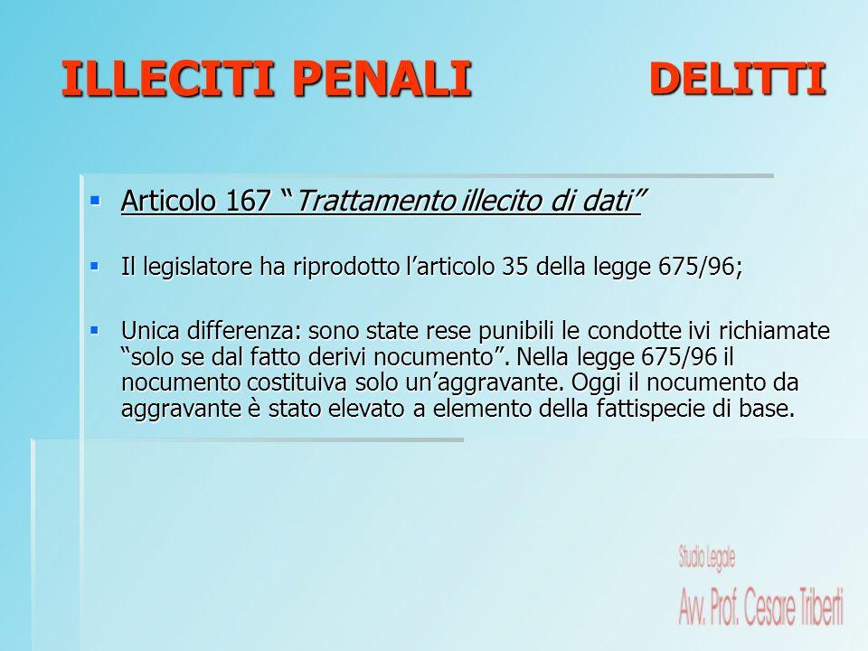Articolo 167 Trattamento illecito di dati Articolo 167 Trattamento illecito di dati Il legislatore ha riprodotto larticolo 35 della legge 675/96; Il l