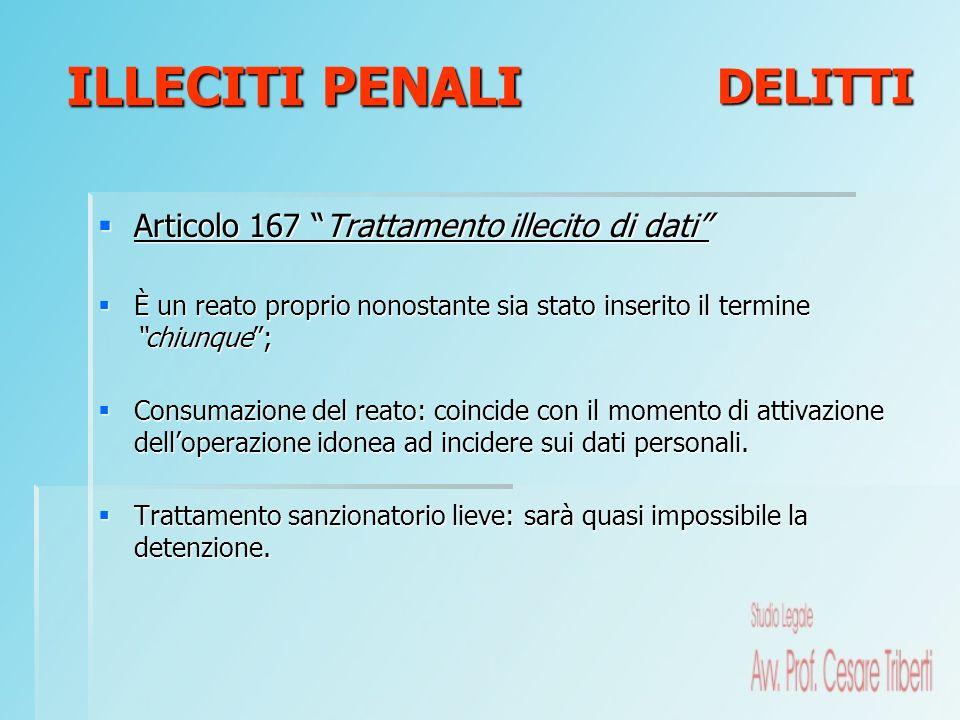 Articolo 167 Trattamento illecito di dati Articolo 167 Trattamento illecito di dati È un reato proprio nonostante sia stato inserito il termine chiunq