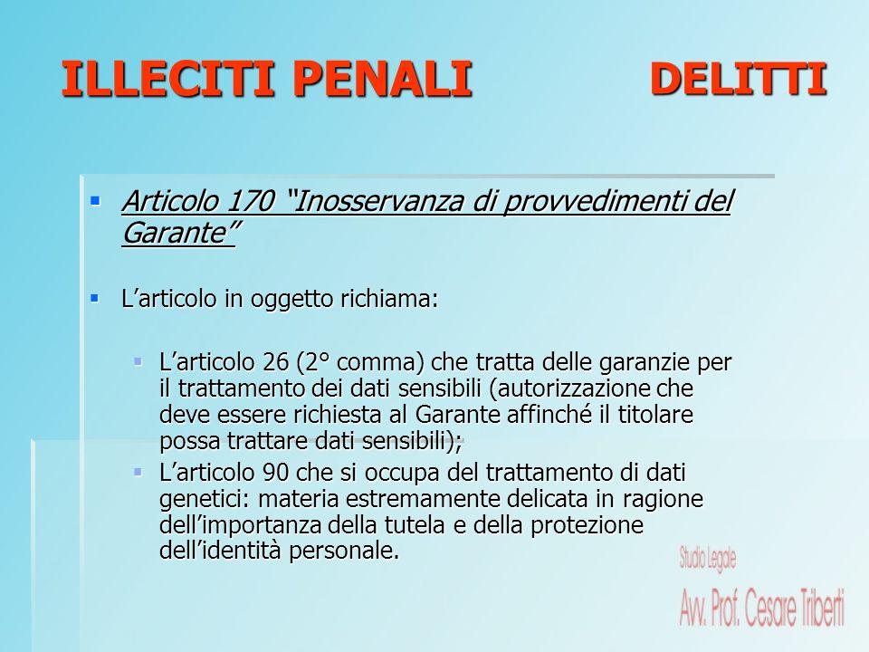 Articolo 170 Inosservanza di provvedimenti del Garante Articolo 170 Inosservanza di provvedimenti del Garante Larticolo in oggetto richiama: Larticolo