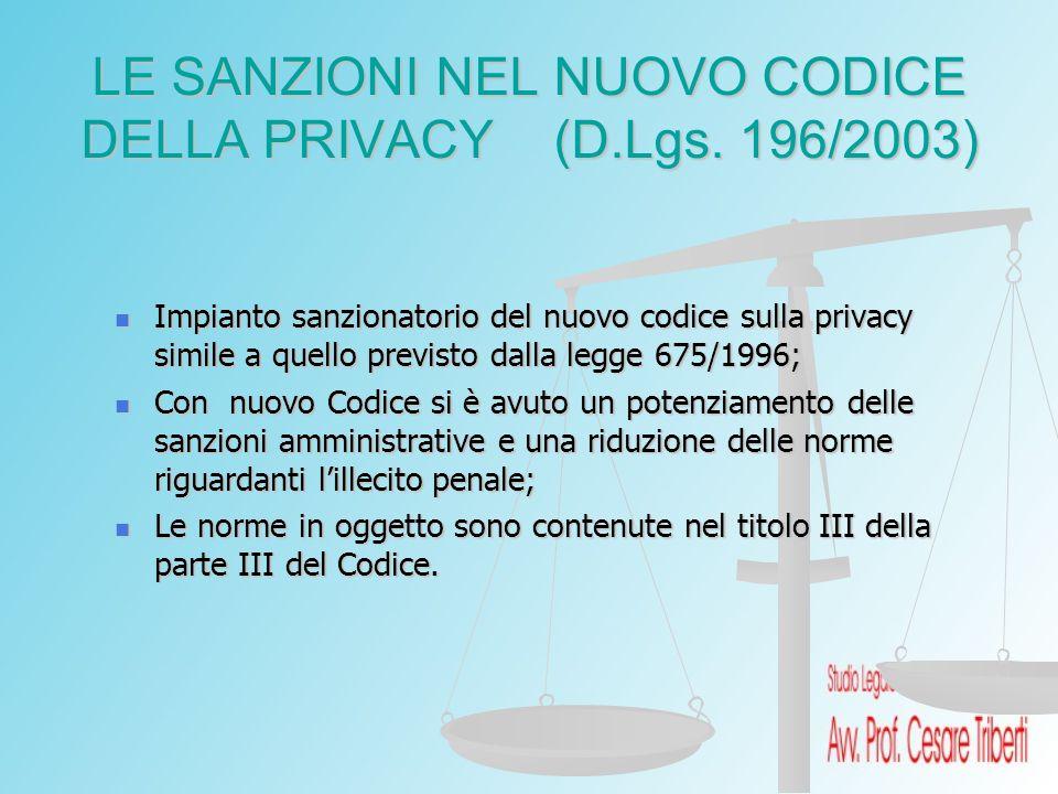 LE SANZIONI NEL NUOVO CODICE DELLA PRIVACY (D.Lgs. 196/2003) Impianto sanzionatorio del nuovo codice sulla privacy simile a quello previsto dalla legg