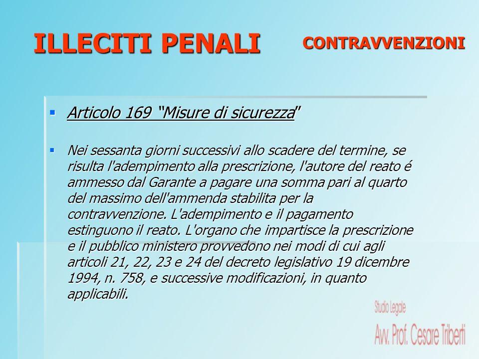 Articolo 169 Misure di sicurezza Articolo 169 Misure di sicurezza Nei sessanta giorni successivi allo scadere del termine, se risulta l'adempimento al