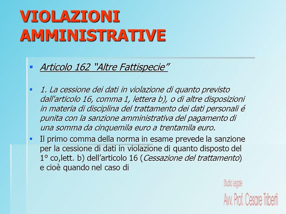 Articolo 162 Altre Fattispecie Articolo 162 Altre Fattispecie 1. La cessione dei dati in violazione di quanto previsto dall'articolo 16, comma 1, lett
