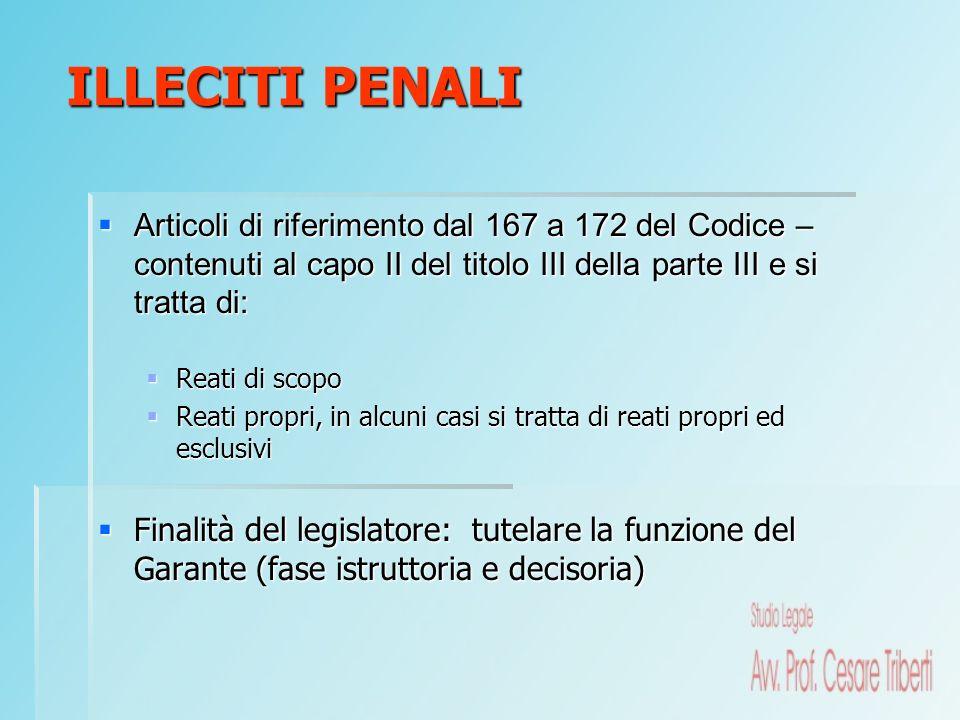 Articoli di riferimento dal 167 a 172 del Codice – contenuti al capo II del titolo III della parte III e si tratta di: Articoli di riferimento dal 167