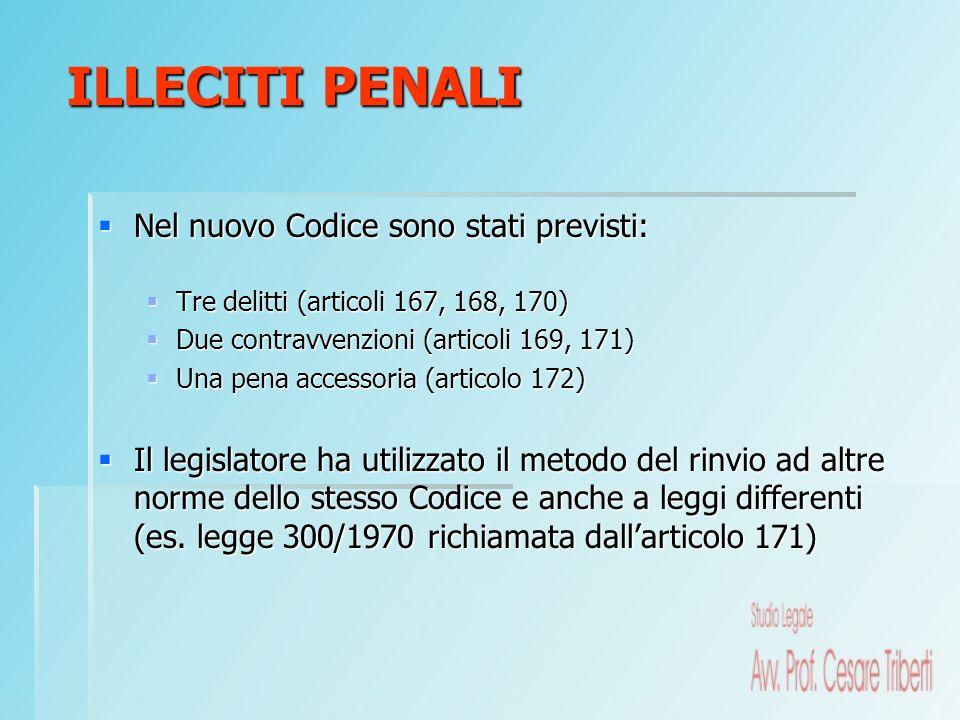 Nel nuovo Codice sono stati previsti: Nel nuovo Codice sono stati previsti: Tre delitti (articoli 167, 168, 170) Tre delitti (articoli 167, 168, 170)