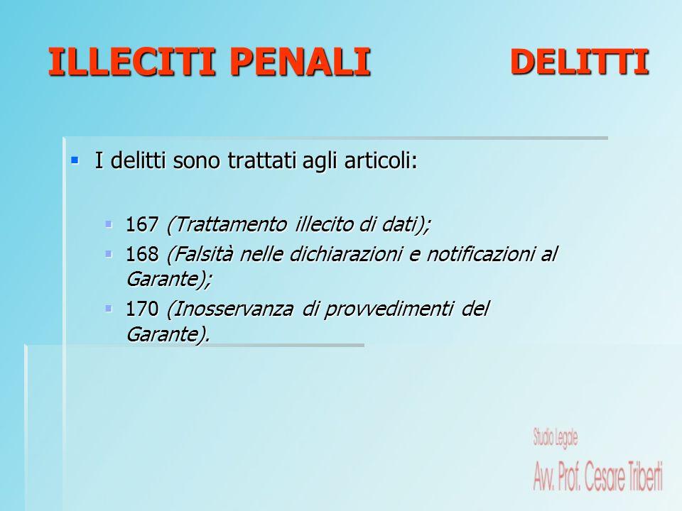 I delitti sono trattati agli articoli: I delitti sono trattati agli articoli: 167 (Trattamento illecito di dati); 167 (Trattamento illecito di dati);