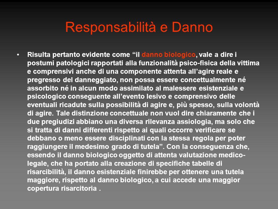 Responsabilità e Danno Risulta pertanto evidente come il danno biologico, vale a dire i postumi patologici rapportati alla funzionalità psico-fisica d