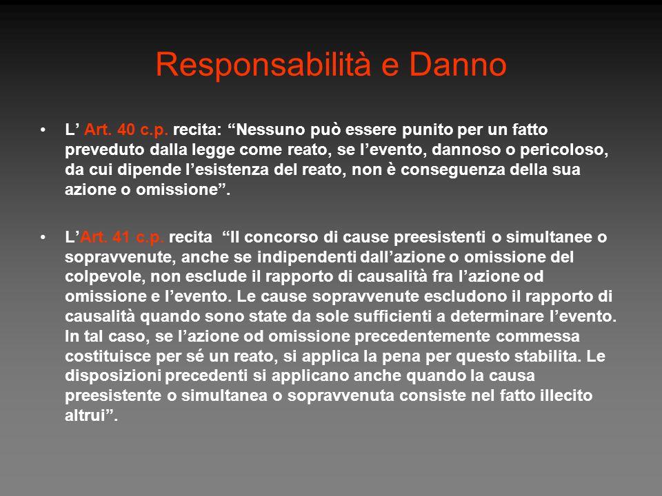 Responsabilità e Danno L Art. 40 c.p. recita: Nessuno può essere punito per un fatto preveduto dalla legge come reato, se levento, dannoso o pericolos