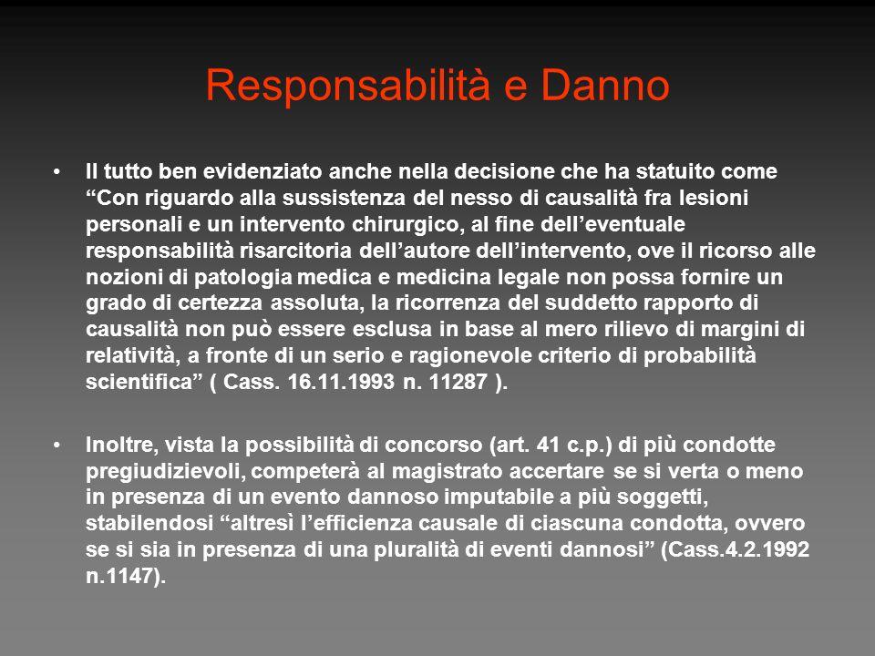 Responsabilità e Danno Il tutto ben evidenziato anche nella decisione che ha statuito come Con riguardo alla sussistenza del nesso di causalità fra le