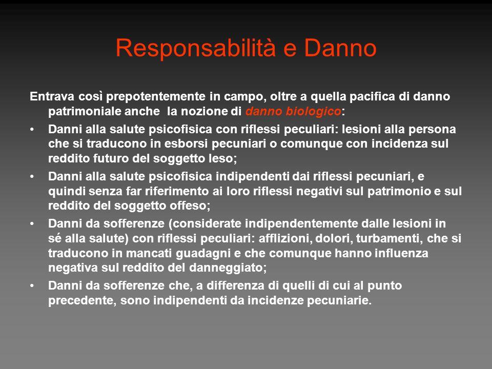 Responsabilità e Danno Entrava così prepotentemente in campo, oltre a quella pacifica di danno patrimoniale anche la nozione di danno biologico: Danni