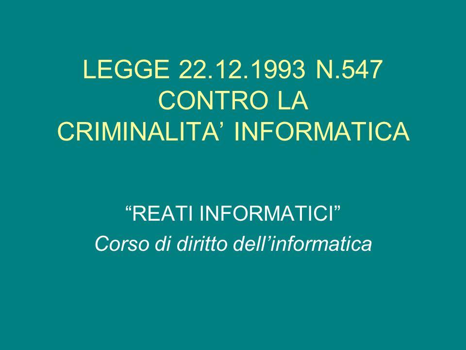 LEGGE 22.12.1993 N.547 CONTRO LA CRIMINALITA INFORMATICA REATI INFORMATICI Corso di diritto dellinformatica