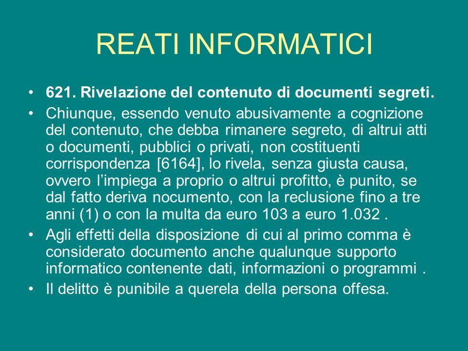 REATI INFORMATICI 621. Rivelazione del contenuto di documenti segreti.