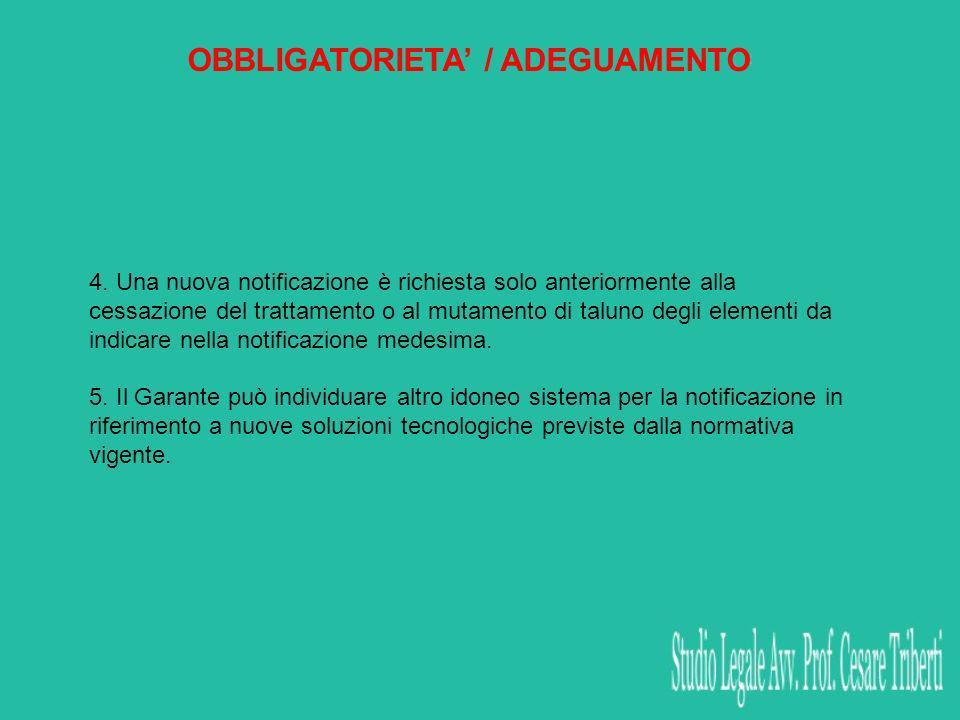 OBBLIGATORIETA / ADEGUAMENTO 4. Una nuova notificazione è richiesta solo anteriormente alla cessazione del trattamento o al mutamento di taluno degli