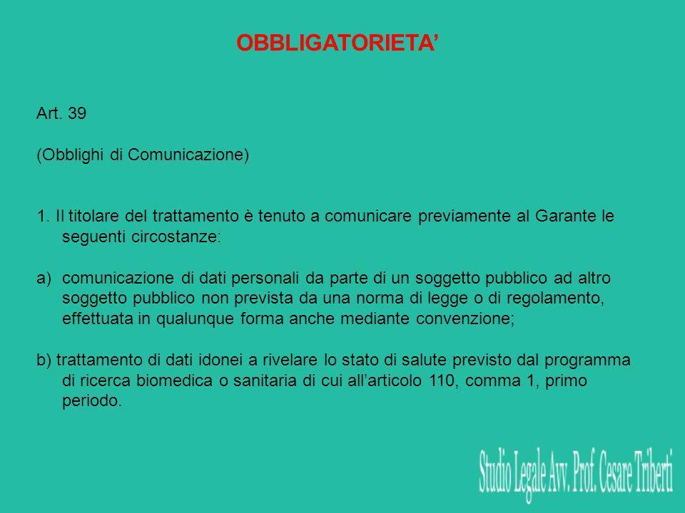 OBBLIGATORIETA Art. 39 (Obblighi di Comunicazione) 1. Il titolare del trattamento è tenuto a comunicare previamente al Garante le seguenti circostanze